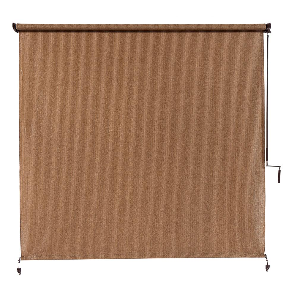 Coolaroo Walnut Cordless Light Filtering Fade Resistant Fabric Exterior Roller Shade 120 in. W x 96 in. L