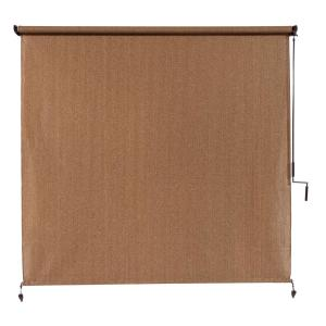 Walnut Cordless Light Filtering Fade Resistant Fabric Exterior Roller Shade 120 in. W x 96 in. L