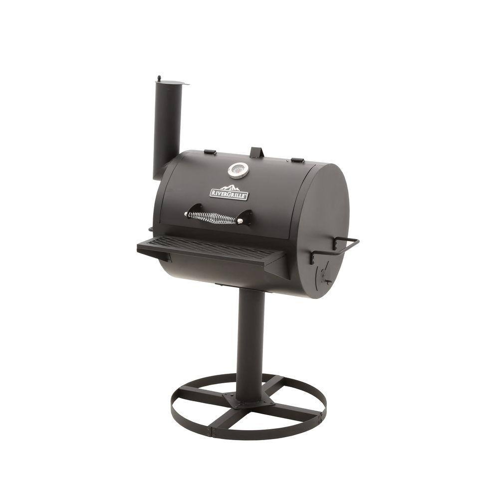 RiverGrille Barrel Charcoal Grill on Pedestal