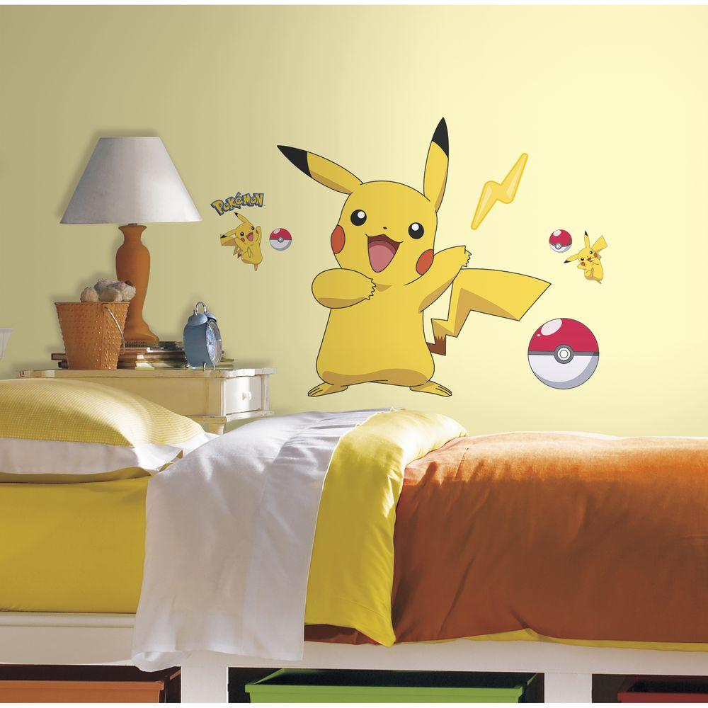 Pokemon Pikachu Peel and Stick Wall Decal & Kids - Wall Decals - Wall Decor - The Home Depot