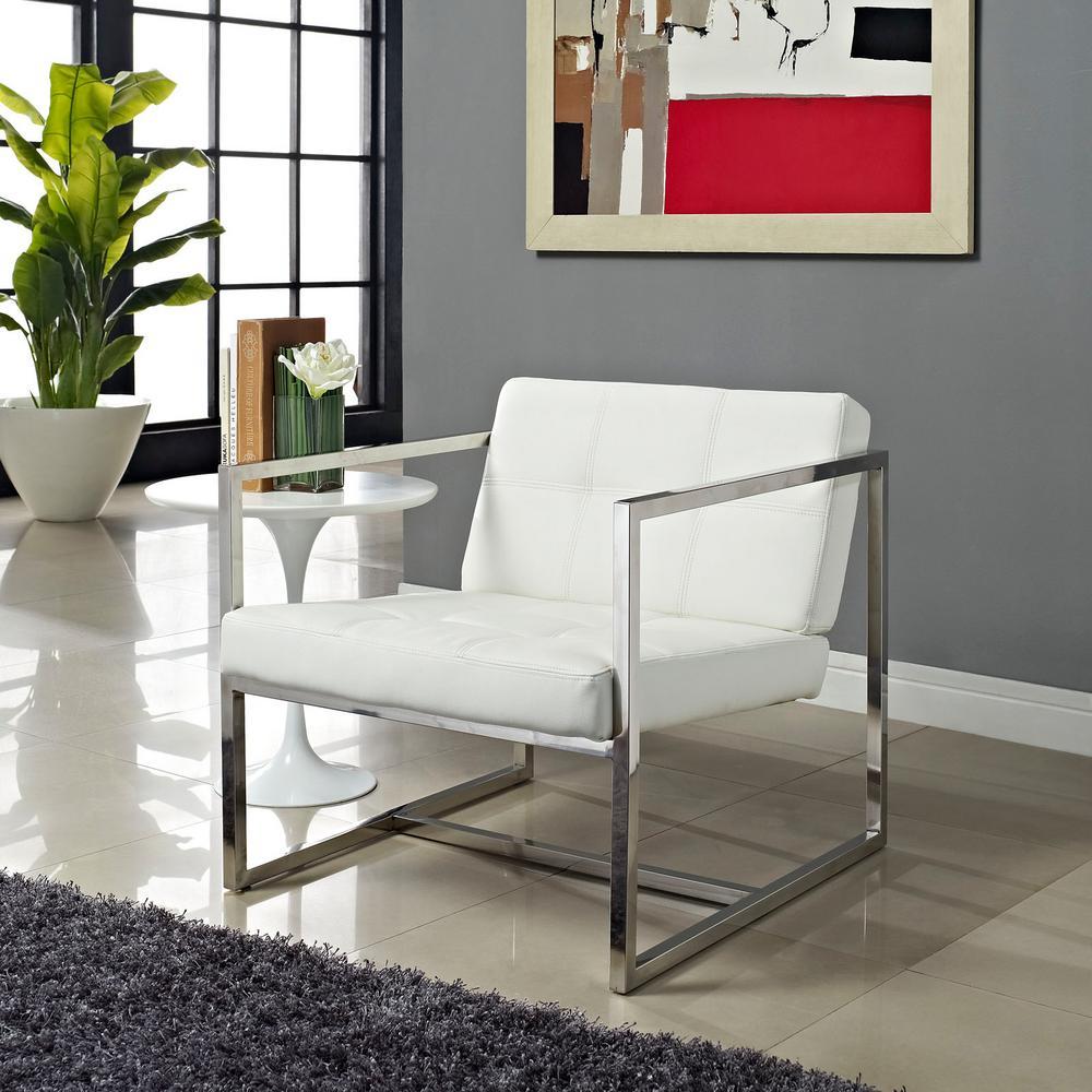 Hover White Upholstered Vinyl Lounge Chair