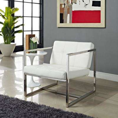 Hover White Upholstered Vinyl Lounge Chair