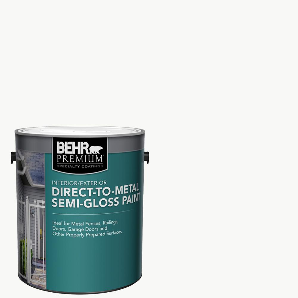 Behr Premium 1 Gal White Semi Gloss Direct To Metal Interior Exterior Paint 320001 The Home Depot