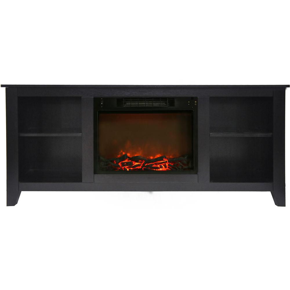 Santa Monica 63 in. Electric Fireplace and Entertainment Stand in Black
