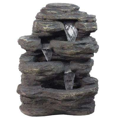 24 in. LED Lighted Multi-Tiered Rock Look Outdoor Patio Garden Water Fountain