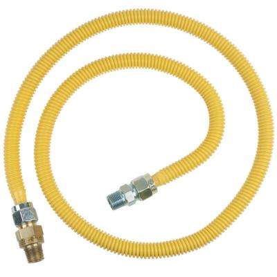 1/2 in. MIP x 1/2 in. MIP x 60 in. Stainless Steel Gas Connector Safety Plus 2 Thermal Excess Flow Valve (93,200 BTU)