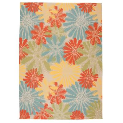 Home and Garden Daisies Ivory 8 ft. x 11 ft. Floral Contemporary Indoor/Outdoor Area Rug