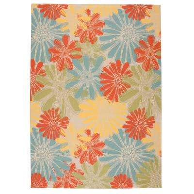 Home and Garden Daisies Ivory 8 ft. x 11 ft. Indoor/Outdoor Area Rug