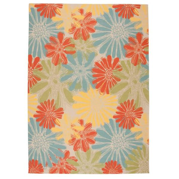 Nourison Home And Garden Daisies Ivory 8 Ft X 11 Ft Floral Contemporary Indoor Outdoor Area Rug 112521 The Home Depot