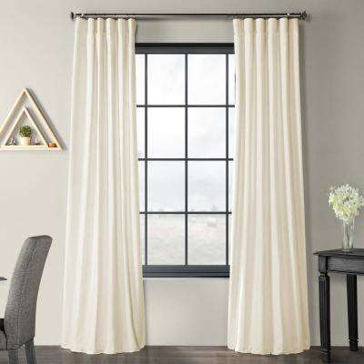 Prairie Cream Ivory Solid Country Cotton Linen Weave Curtain - 50 in. W x 96 in. L