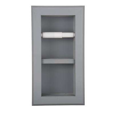 Newton Recessed Toilet Paper Holder 12 Holder in Primed with Bevel Frame in Gray
