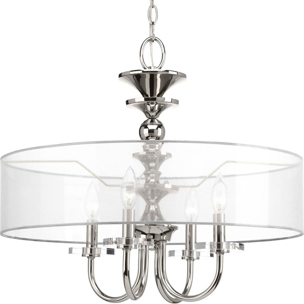 Progress Lighting March Collection 4 Light Polished Nickel Pendant P500043 104 The Home Depot
