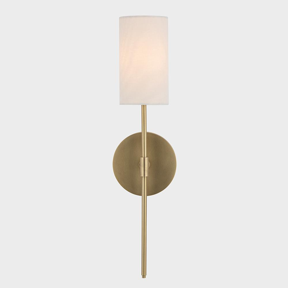 on sale 544aa 326e4 Fifth and Main Lighting Ollie 1-Light Aged Brass Wall Sconce with White  Linen Shade