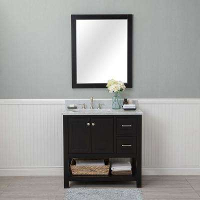Wilmington 36 in. W x 22 in. D Vanity in Espresso with Marble Vanity Top in White with White Basin and Mirror