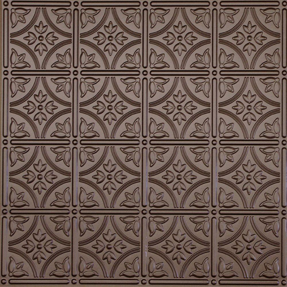 Global Specialty Products Dimensions 2 ft. x 2 ft. Bronze Tin Ceiling Tile for Refacing in T-Grid Systems