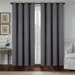 Click here to buy  Aspen 84 inch Grey Polyester Heavy Blackout Extra Wide Grommet Window Curtain Panel....
