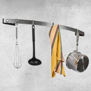 Enclume Decor Hammered Steel Bow Utensil Bar Wall Mounted Pot Rack by Enclume