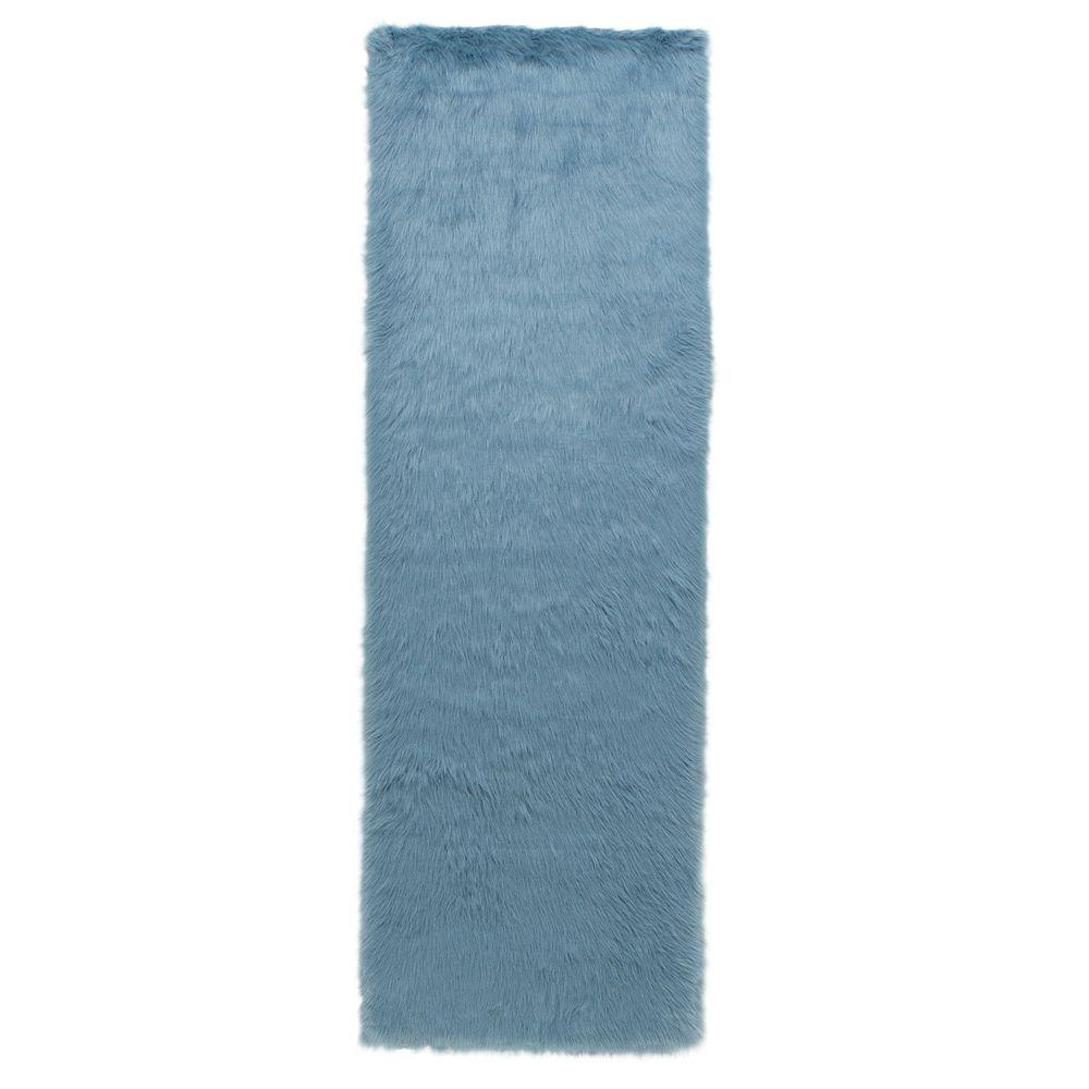 Home Decorators Collection Faux Sheepskin Blue 3 Ft X 8 Runner Rug