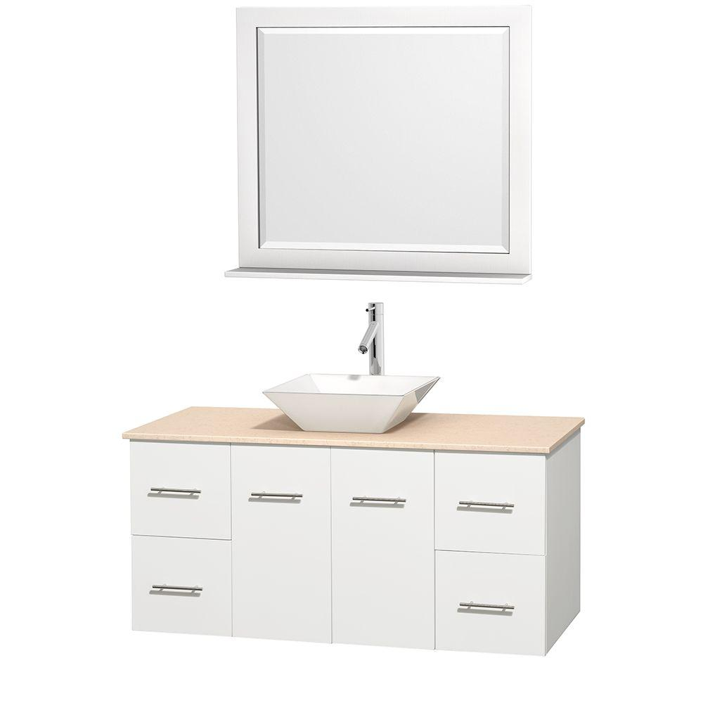 Wyndham Collection Centra 48 in. Vanity in White with Marble Vanity Top in Ivory, Porcelain Sink and 36 in. Mirror