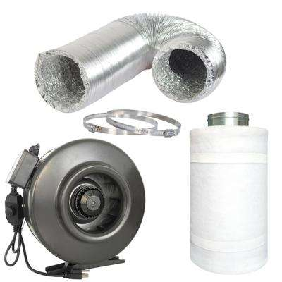 754 CFM 10 in. Centrifugal Inline Duct Fan with Carbon Filter and Aluminum Ducting for Indoor Garden Ventilation
