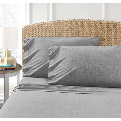 Heather Grey Jersey Queen Sheet Set