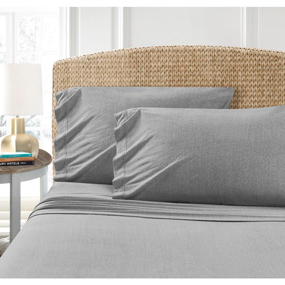 MHF Home Cotton Blend Grey Jersey Queen Sheet Set