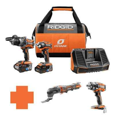 18-Volt OCTANE Lithium-Ion Cordless Brushless Combo Kit w/Bonus Brushless JobMax Multi-Tool & 1/2 in. Impact Wrench