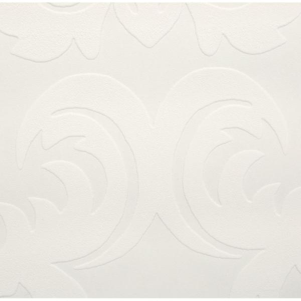 Graham & Brown 56 sq. ft. Large Damask Paintable White Wallpaper