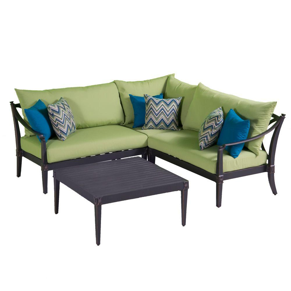 Corner Sectional Conversation Table Set Ginkgo Green Cushions