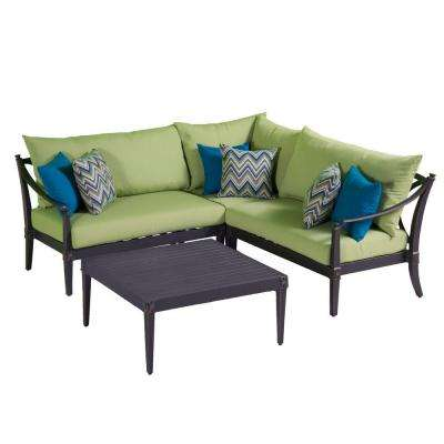 Astoria 4-Piece Patio Corner Sectional and Conversation Table Set with Ginkgo Green Cushions