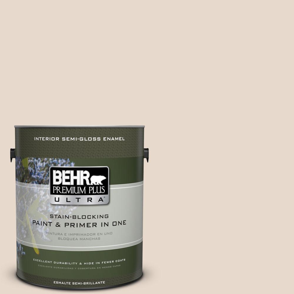 BEHR Premium Plus Ultra 1-gal. #N240-1 Cascade Beige Semi-Gloss Enamel Interior Paint