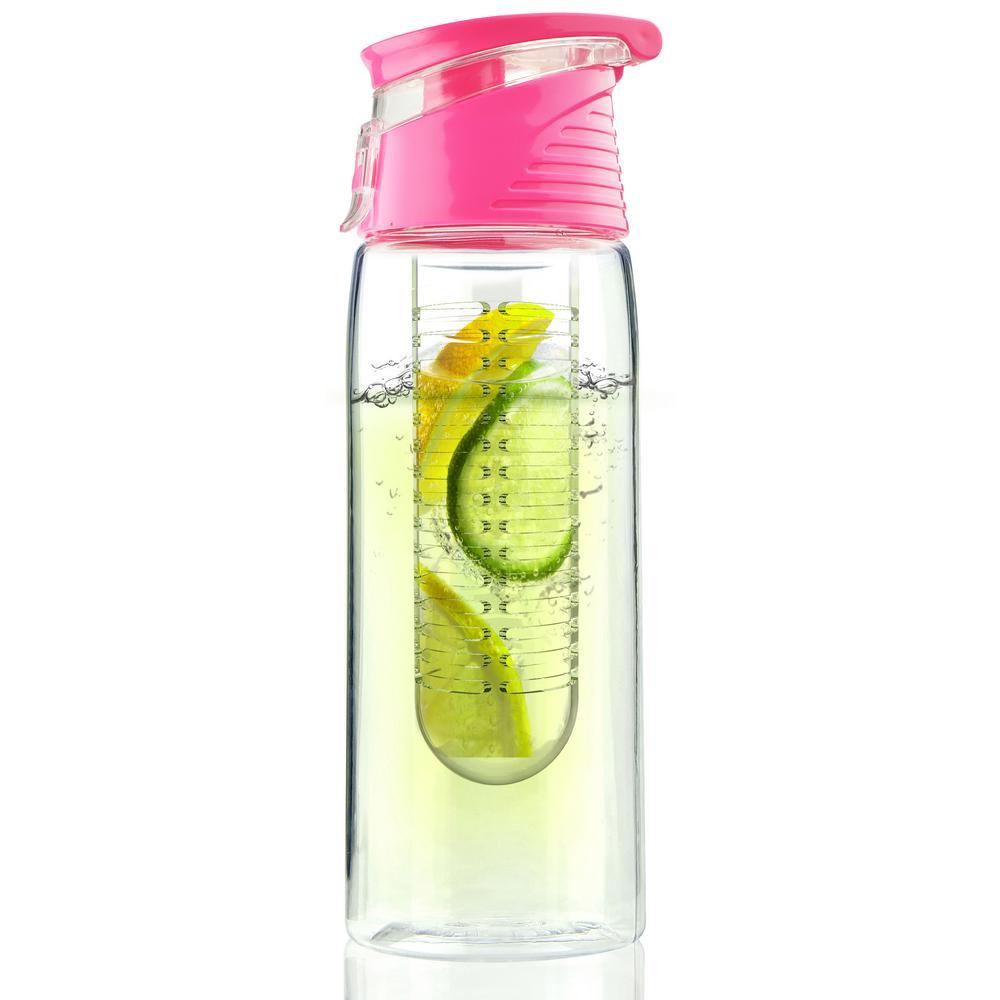ASOBU Flavour2Go Water Bottle 20 oz. Pink Fruit Infuser