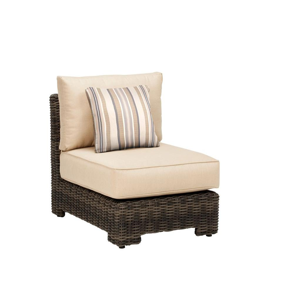 Brown Jordan Northshore Middle Armless Patio Sectional Chair with Harvest Cushion and Terrace Lane Throw Pillow -- CUSTOM
