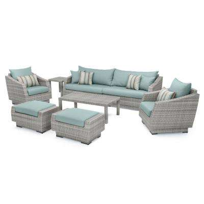 Cannes 8-Piece All-Weather Wicker Patio Sofa and Club Chair Seating Group with Bliss Blue Cushions