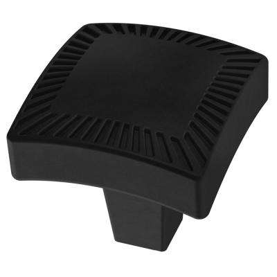Textured Arched 1-1/8 in. (28mm) Matte Black Square Cabinet Knob