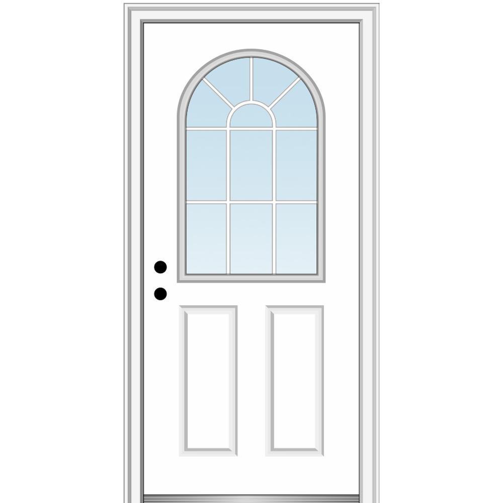 MMI Door 32 in. x 80 in. Classic Right-Hand Inswing 1/2-Lite Clear Glass Primed Steel Prehung Front Door on 4-9/16 in. Frame