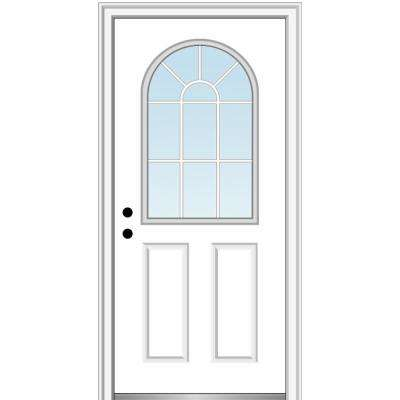 32 in. x 80 in. Classic Right-Hand Inswing 1/2-Lite Clear Glass Primed Steel Prehung Front Door on 4-9/16 in. Frame