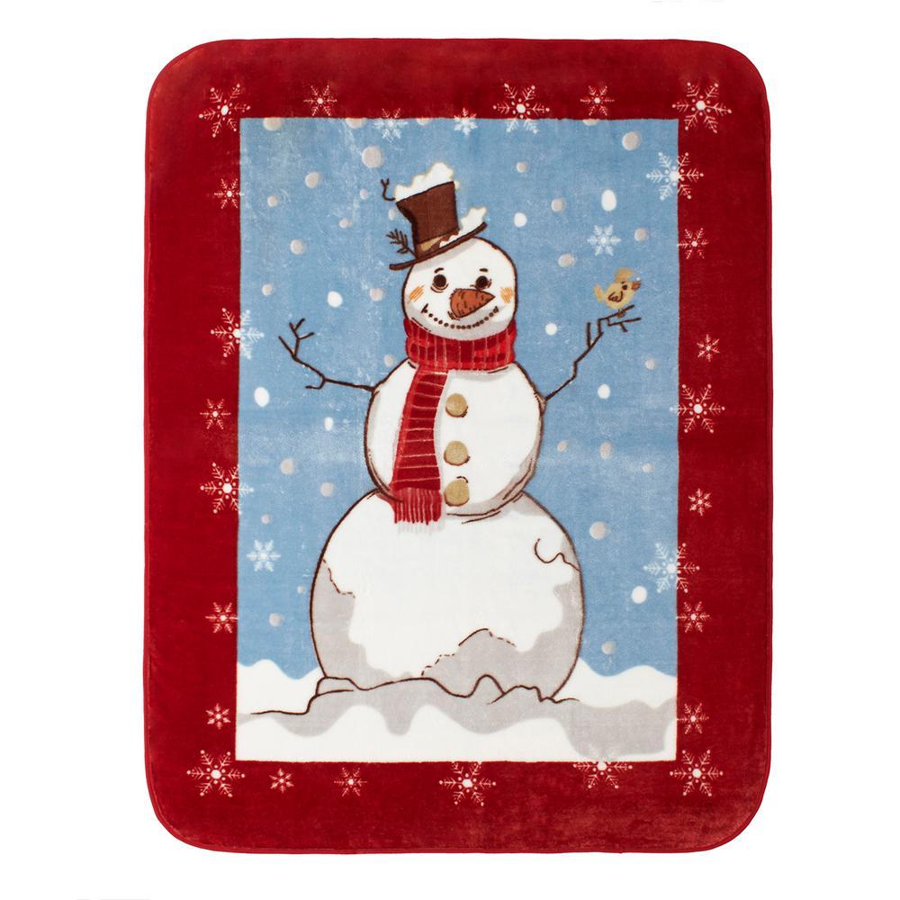 High Pile Snowman Raschel Knit Throw