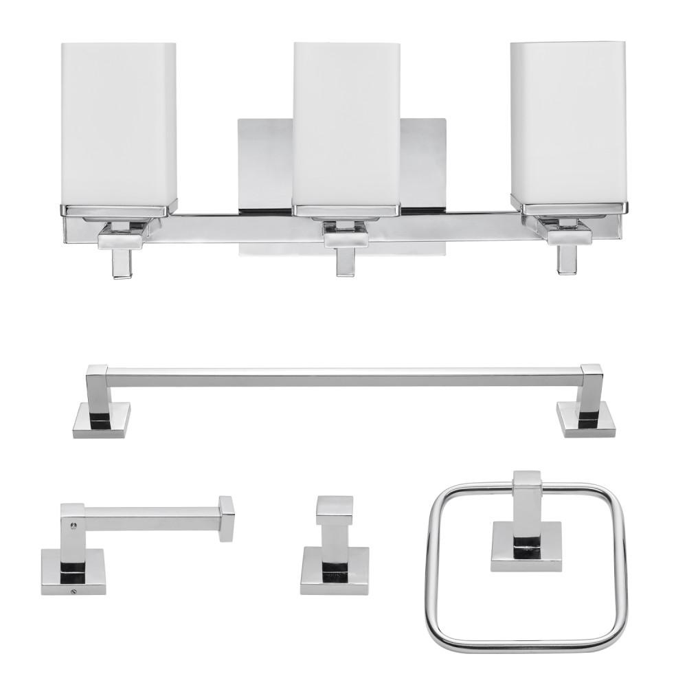 Finn 3-Light Chrome All-In-One Bath Light Vanity (5-Piece)
