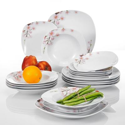 Annie 18-Piece Printed White Porcelain Plates Dishes Dinnerware Set (Set of 6)