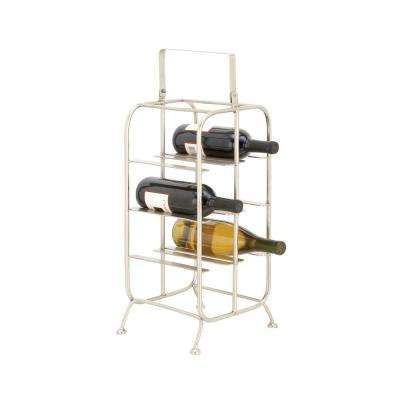 8-Bottle Silver Iron Rectangular Wine Holder