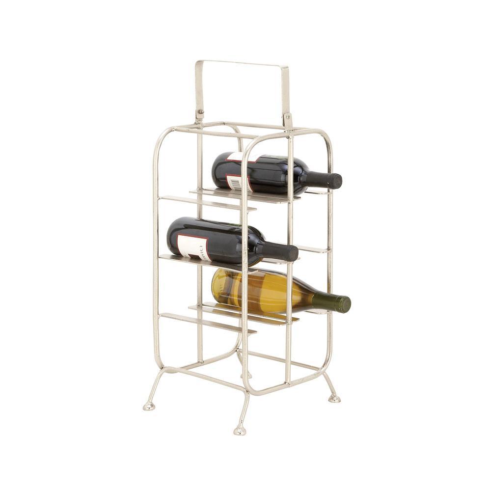 8-Bottle Silver Iron Rectangular Wine Holder