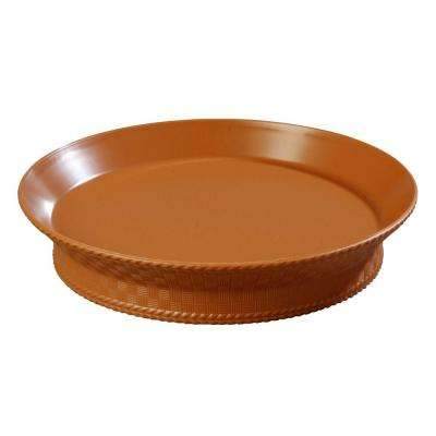 10 in. Diameter Polypropylene Round Serving Platter with Raised Base in Straw (Case of 12)