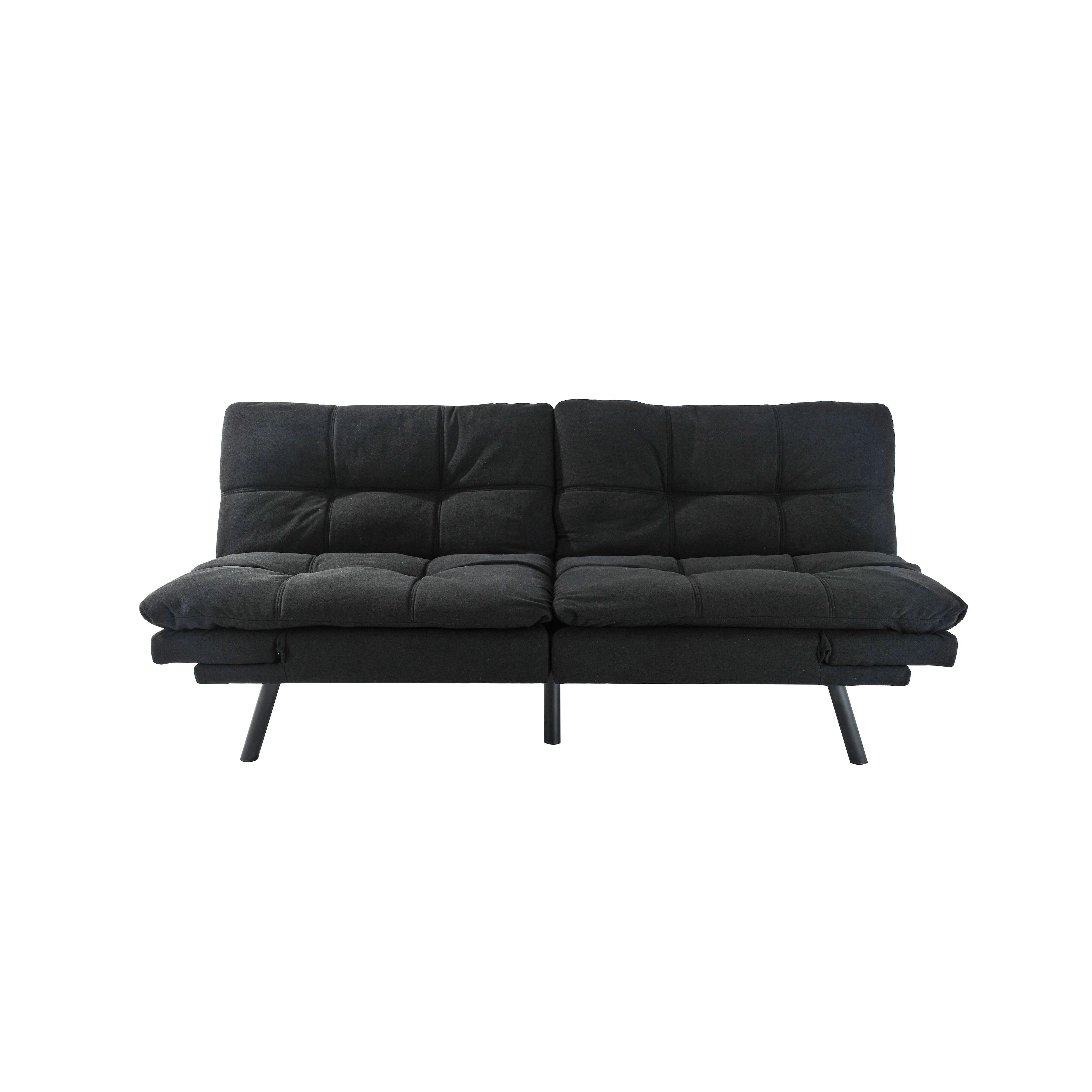 Boyel Living 34.3 in. Black Cotton 2-Seater Full Sleeper Armless Sofa Bed