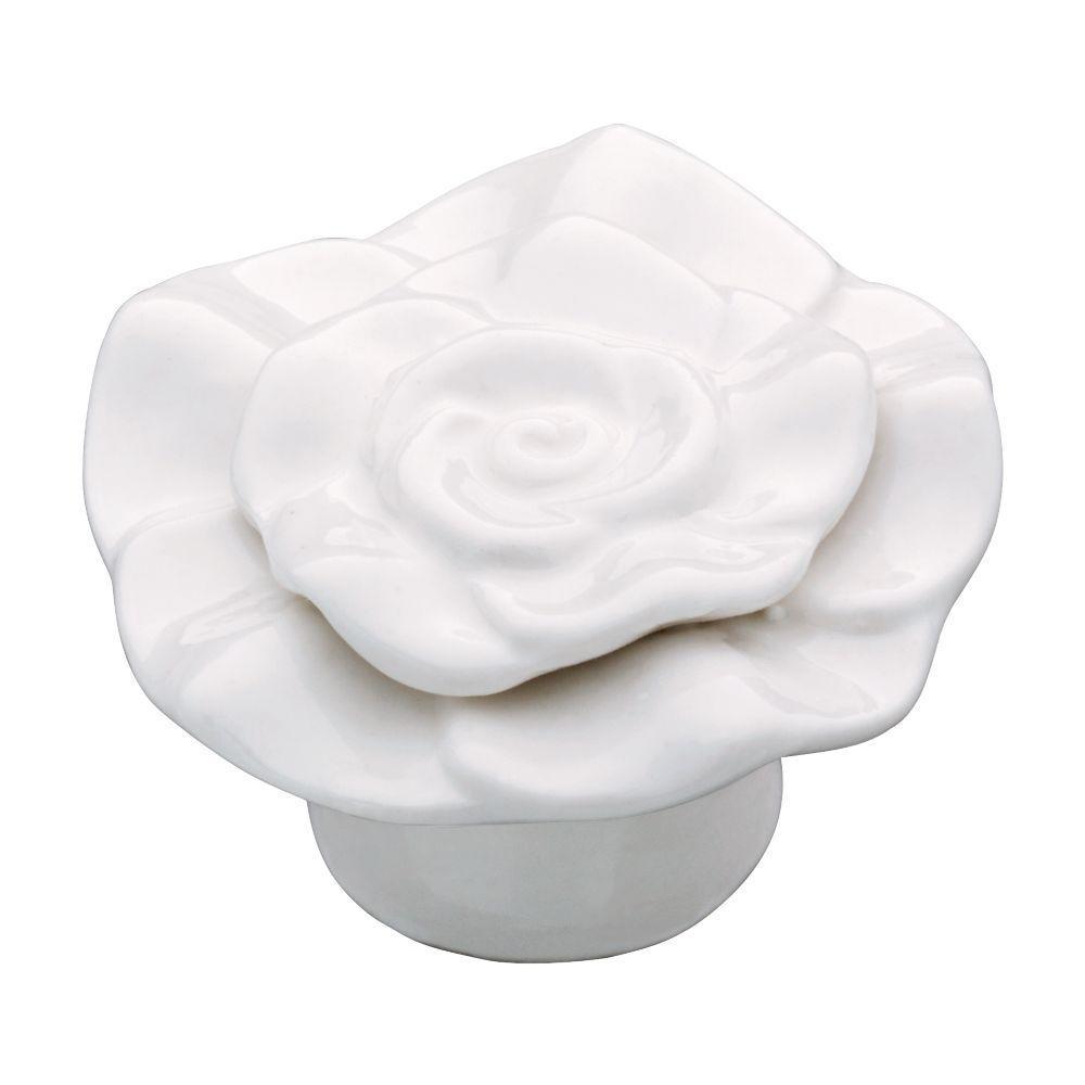Liberty 1-1/4 in. White Ceramic Rose Cabinet Knob-CFK002-W-C - The ...