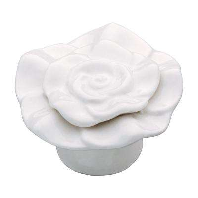 Ceramic Rose 1-1/4 in. (32mm) White Cabinet Knob