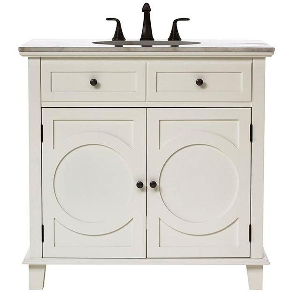 Home Decorators Collection Hudson 36 in. Vanity in White with Natural Marble Vanity Top in White