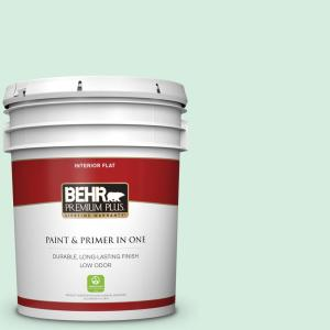 Behr Premium Plus 5 Gal P410 1 Pondscape Flat Low Odor Interior Paint And Primer In One 105005 The Home Depot