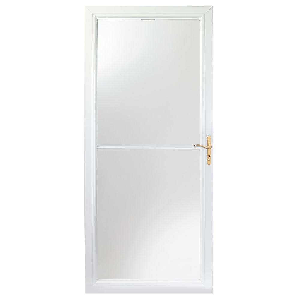 30 in. x 80 in. 2500 Series White Universal Self-Storing Aluminum Storm Door with Brass Hardware