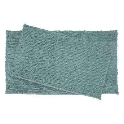 Plush Shag Chenille Marine Blue 21 in. x 34 in. and 17 in. x 24 in. 2-Piece Bath Rug Set